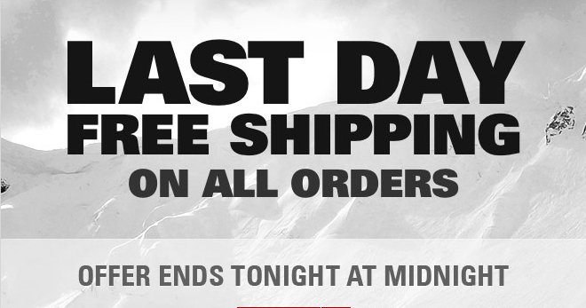 LAST DAY FREE SHIPPING ON ALL ORDERS
