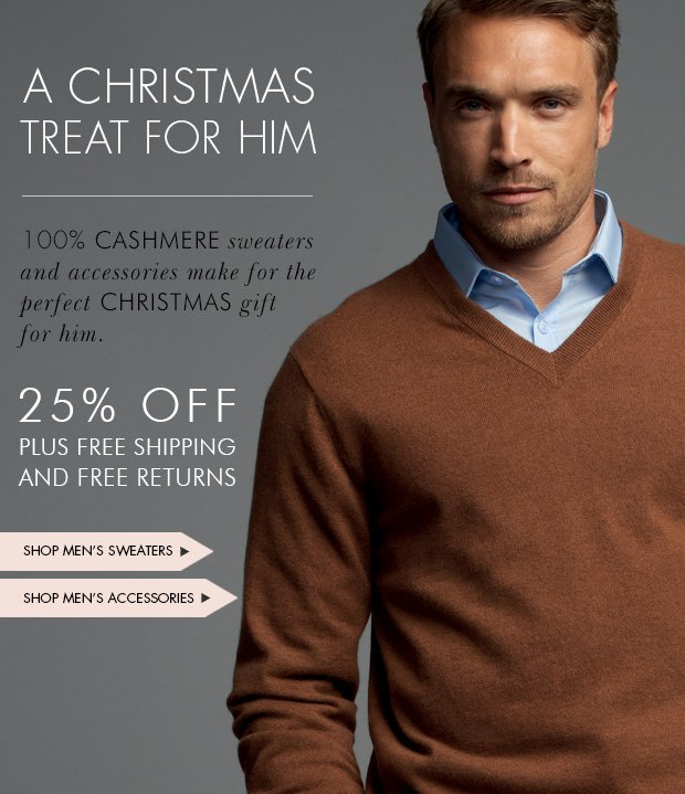 Download Images: Shop Christmas treat for him 25% off plus free shipping and returns.