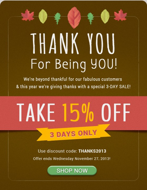 Thanksgiving 3-Day Sale - Save 15% On Us