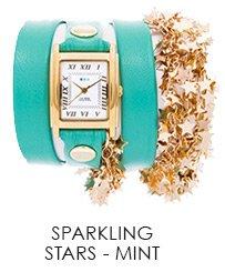 Mint-Gold Sparkling Stars Wrap Watch