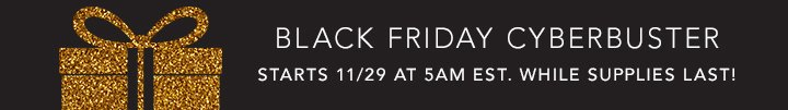 Black Friday Cyberbuster - starts 11/29 at 5am EST. While Supplies Last!