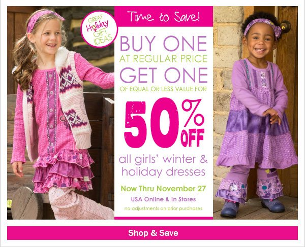 Buy One Get One 50% Off! All Winter  & Holiday Dresses