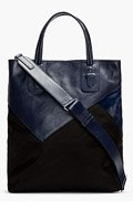 NEIL BARRETT Navy Leather & Calf-Hair Patchwork Tote for men