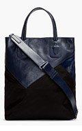 NEIL BARRETT Navy Leather & Calf-Hair Patchwork Tote for men