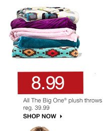 8.99 All The Big One plush throws. reg. 39.99. SHOP NOW