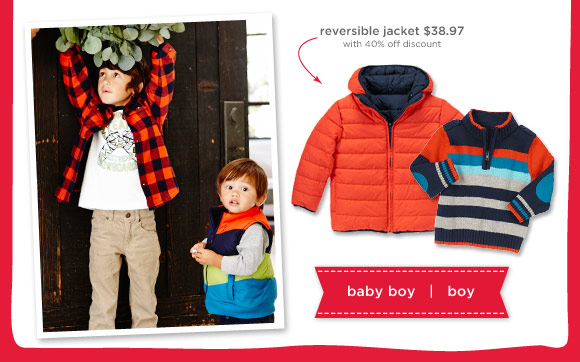 reversible jackets $38.97 with 40% off discount