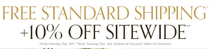 Free standard shipping plus 10% off sidewide