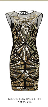 Sequin Low Back Shift Dress