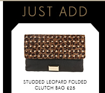 Studded Leopard Folded Clutch Bag