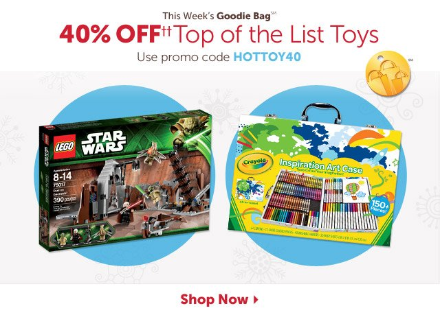 This Week's Goodie Bag - 40% OFF++ Top of the List Toys - Use promo code HOTTOY40 - Shop Now