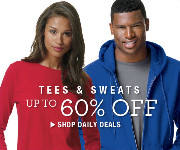 Up to 60% off Tees & Sweats