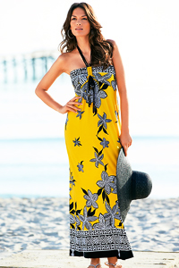 Yellow Floral Print Beach To Bar Maxi Dress