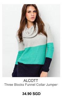 Alcott Three Blocks Funnel Collar Jumper