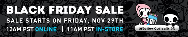 Why have a sale for just one day of the year? Starting 12 am PST Friday, November 29th, receive up to 50% off of select items through 11:59 am PST Friday, December 3rd on our online store.