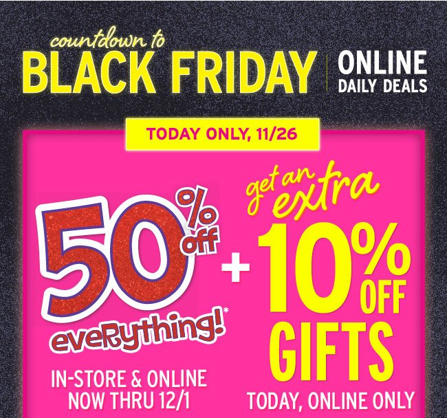 Extra 10% off gifts