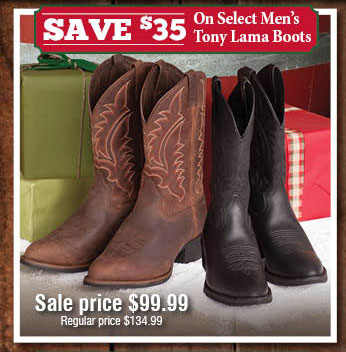 Save $35 On Selct Tony Lama Boots.