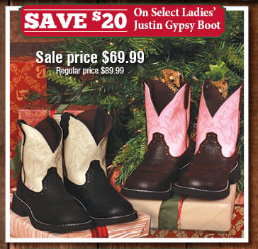 Save $20 On Select Ladies Justin Gypsy Boot