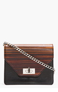 GIVENCHY Black Leather Wood Effect Sharklock Clutch for women