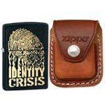 Zippo 28295 Classic Identity Crisis Black Matte Windproof Lighter with Zippo Brown Leather Clip Pouch