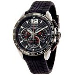 Pulsar PU2021 Men's Chronograph Black Dial Black Rubber Strap Quartz Watch