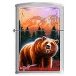 Zippo 1177 Classic Brushed Chrome Mazzi-Bear in Autumn Windproof Pocket Lighter