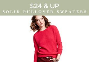 $24 & Up: Solid Pullover Sweaters