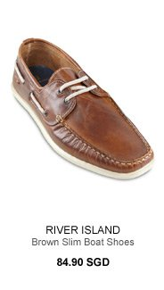 River Island Brown Slim Boat Shoes