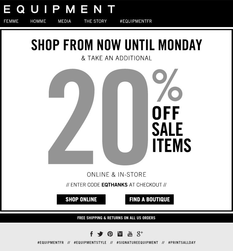 SHOP FROM NOW UNTIL MONDAY & TAKE AN ADDITIONAL 20% OFF SALE ITEMS ONLINE & IN-STORE