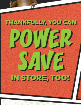 THANKFULLY, YOU CAN POWER SAVE IN STORE, TOO!
