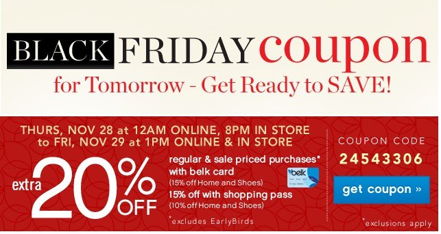 For tomorrow Extra 20% off. Get coupon.