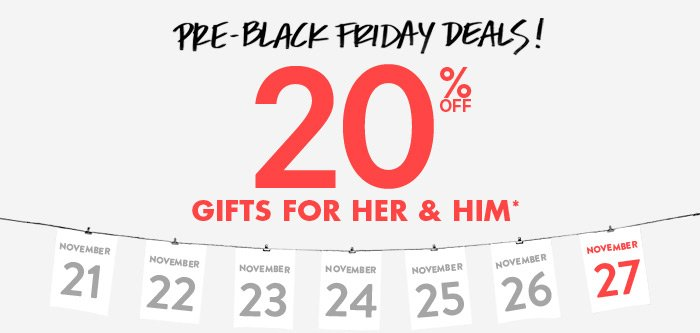 Day 7: 20% Off Gifts for Her and Him