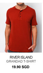 River Island Orange Grandad T shirt