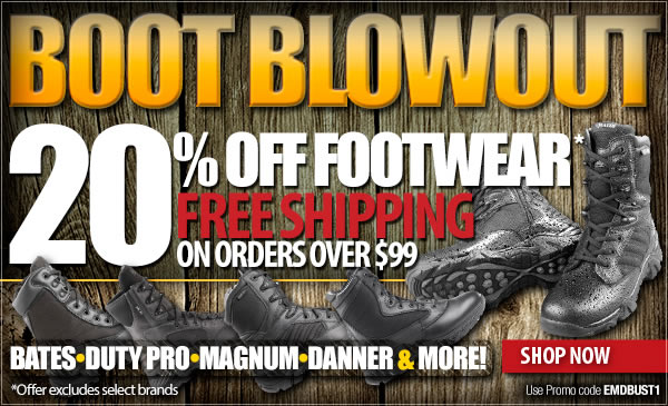 20 Percent off Footwear + Free Shipping Over 99 dollars!