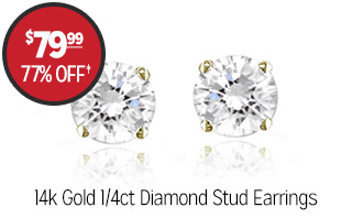 14k Gold 1/4ct Diamond Stud Earrings - $79.99 - 77% off�