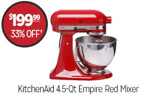 KitchenAid 4.5-Qt Empire Red Mixer - $199.99 - 33% off�
