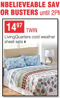 14.97 twin LivingQuarters cold weather sheet sets