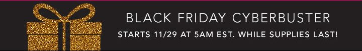 Black Friday Cyberbuster: starts 11/29 at 5AM est. While Supplies Lasts!