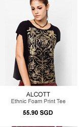 ALCOTT ETHNIC FOAM PRINT TEE