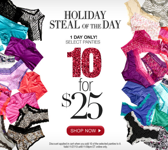 Holiday Steal of the Day: 1 Day Only! Select Panties 10 for $25