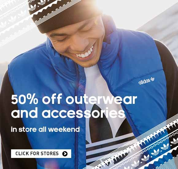 50% off outerwear and accessories, in-store all weekend. Click for stores.