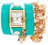 Mint-Gold Sparkling Stars Wrap Watch
