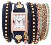 Navy Gold Bali Turquoise Crystal Wrap Watch