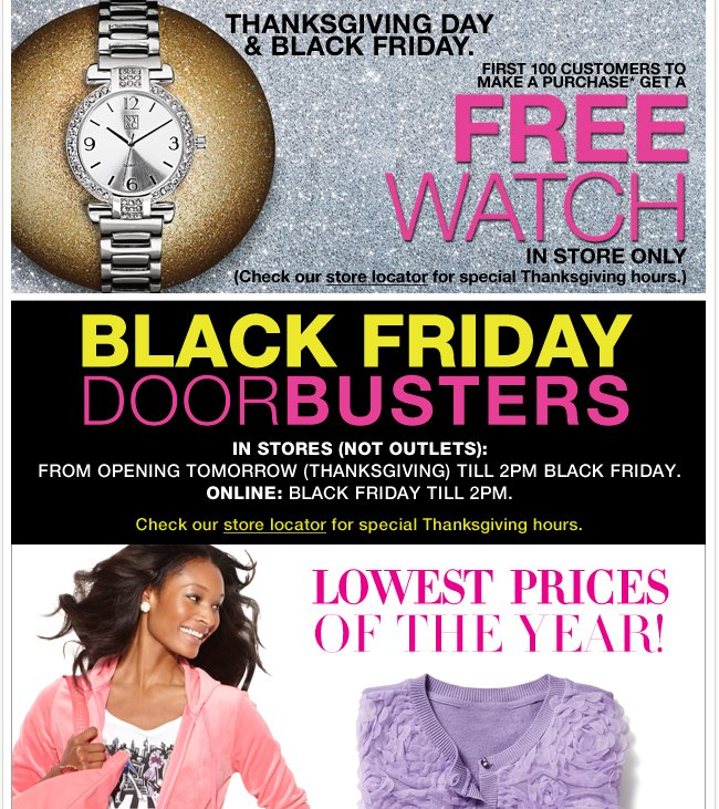 FREE Watch to the First 100 Customers to Make a Purchase In Stores!