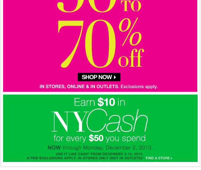 Everything 50%-70% Off In Stores & Online + Earn $10 in NYCash In Stores!