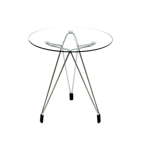 Diamond Side Table  // Chrome Base + Round Glass Top