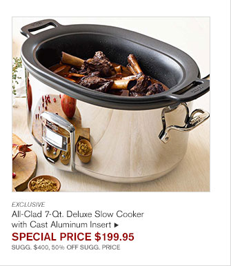 EXCLUSIVE - All-Clad 7-Qt. Deluxe Slow Cooker with Cast Aluminum Insert - SPECIAL PRICE $199.95 - SUGG. $400, 50% OFF SUGG. PRICE
