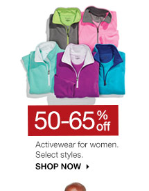 50-65% off Activewear for women. Select styles. SHOP NOW
