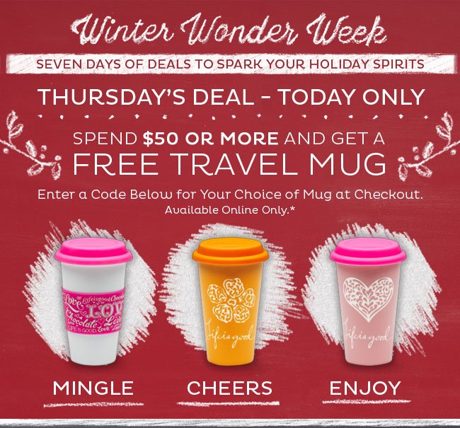 Free Travel Mug with a $50 Purchase