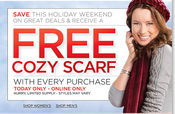 Today only, enjoy a FREE Cozy Scarf with every purchase! Shop your favorite UGG® Australia styles and we'll pay your tax plus enjoy FREE shipping!* Plus, find more great deals online and in-stores all season long. Shop now to find the best selection at The Walking Company.
