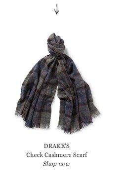 DRAKE'S Check Cashmere Scarf